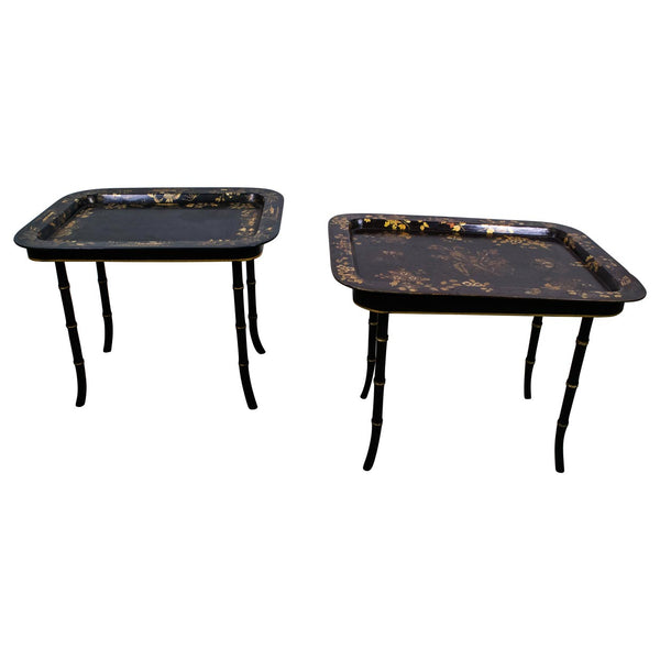 Pair of Victorian Chinoiserie Tray Side Tables