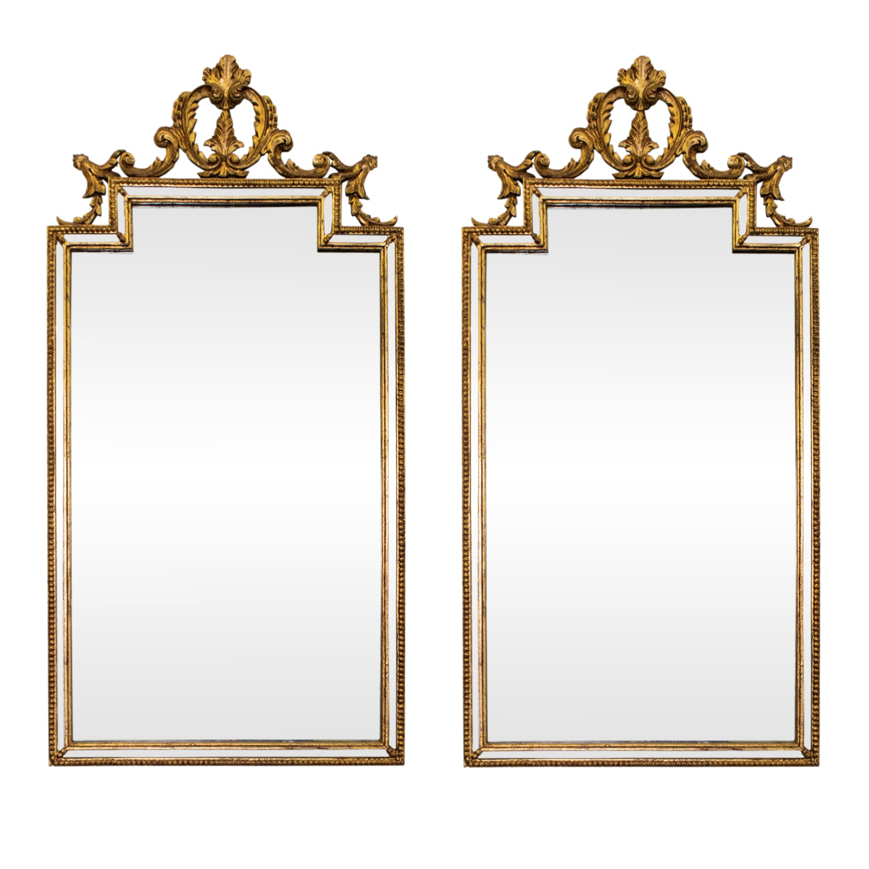 Pair of Italian Neo-Classical Style  Giltwood Mirrors