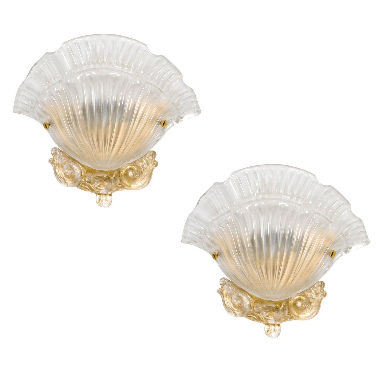 A Pair of Shell form Murano Wall Sconces