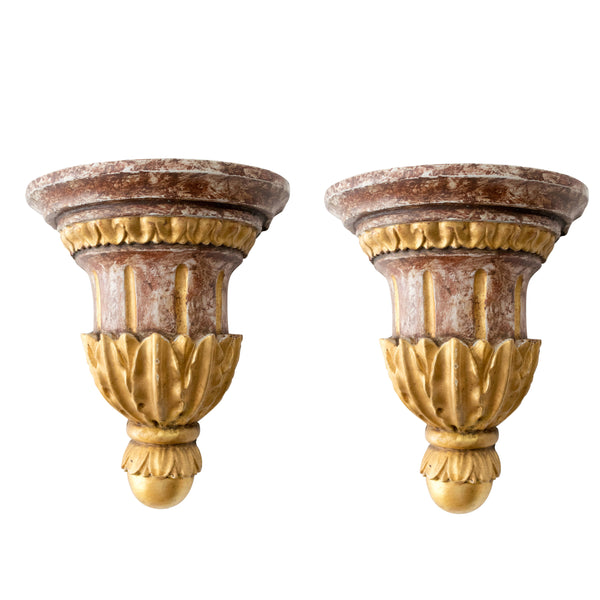 Pair Early 20th Century Italian Polychrome and Gilt Wall Brackets