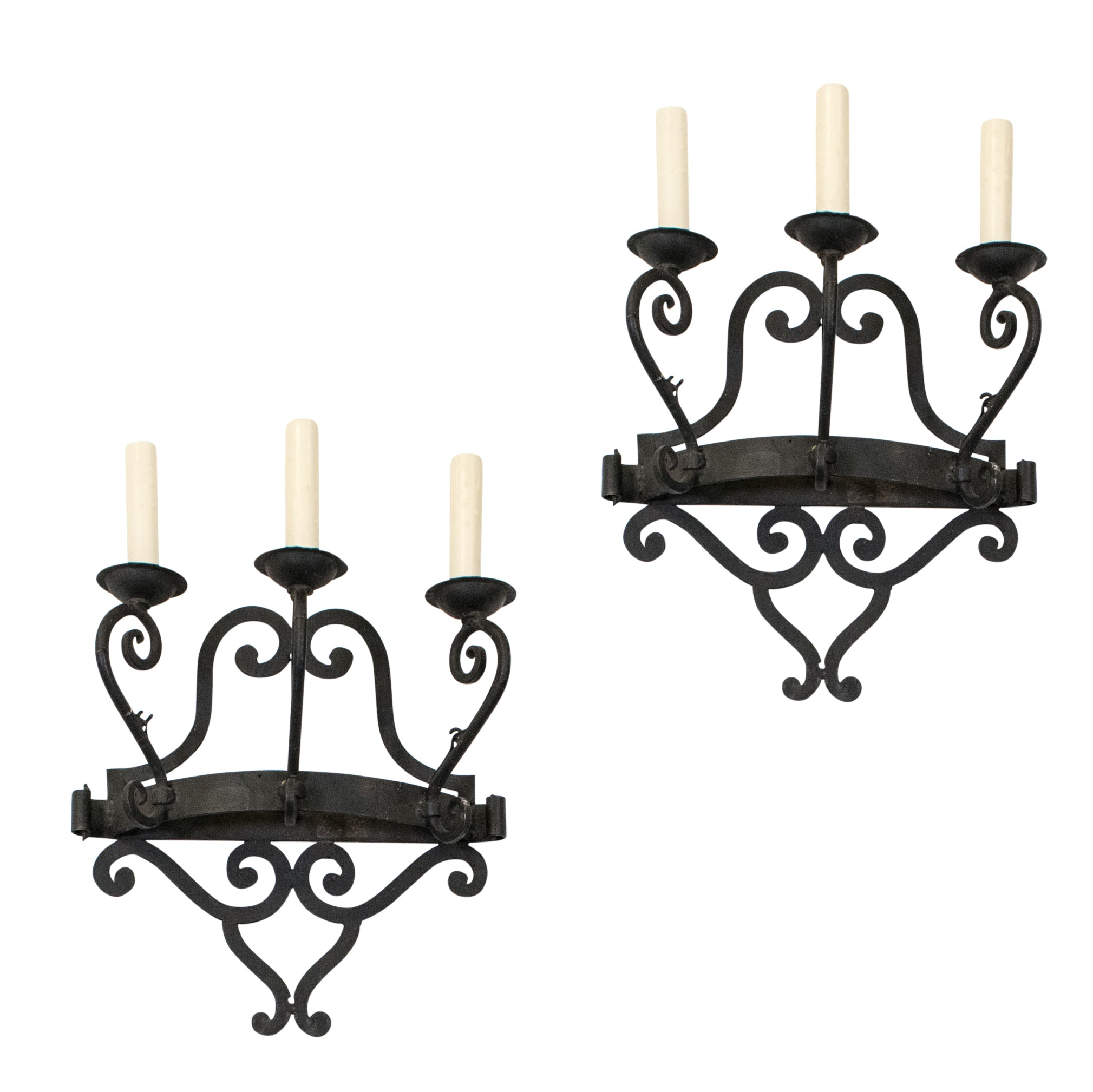 Pair of French 19th Century Forged Iron Wall Sconces (2 Pairs available)