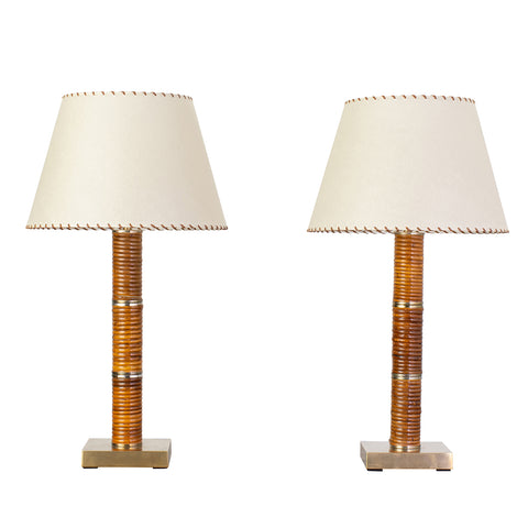 1970s Rattan and Brass Table Lamps