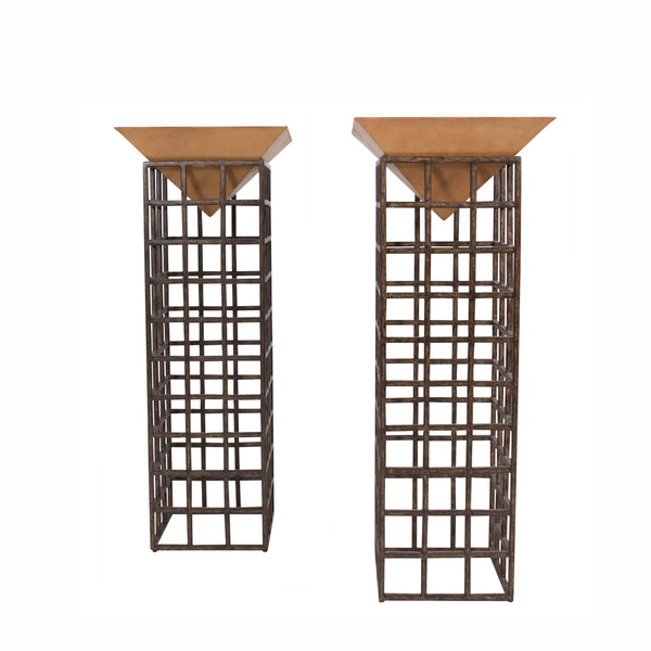 A Pair of Unusual Pyramid Mounted Pedestals
