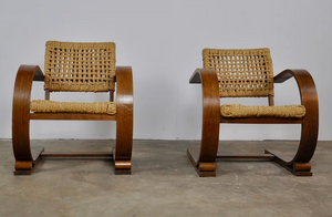 Pair of Audoux Minet Armchairs by Vibo Vesoul 1940s