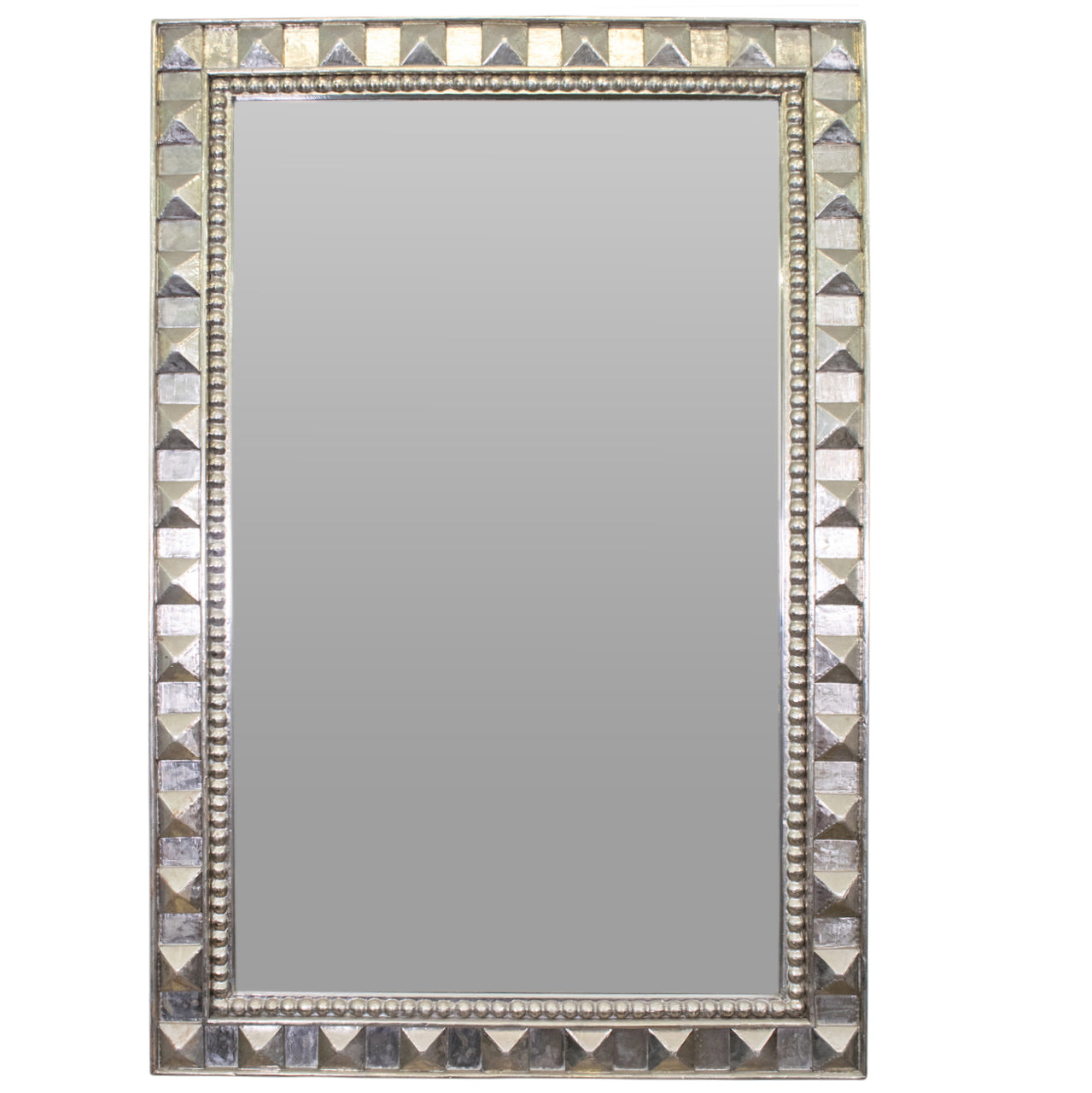 Large Silver Overlay Studded Mirror