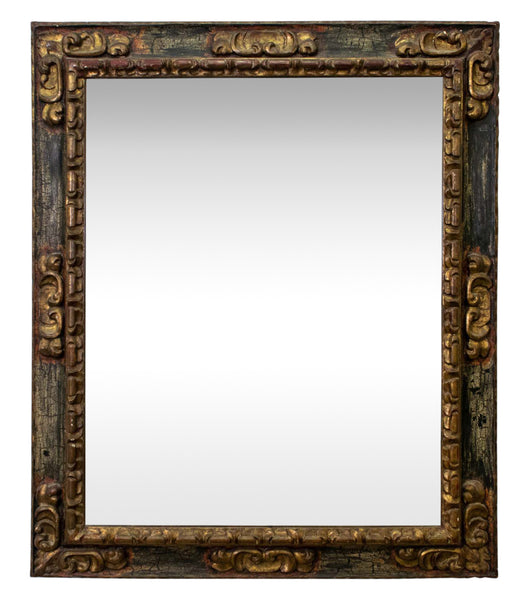 Spanish Baroque Style Carved Gilt and Polychrome Painted Mirror