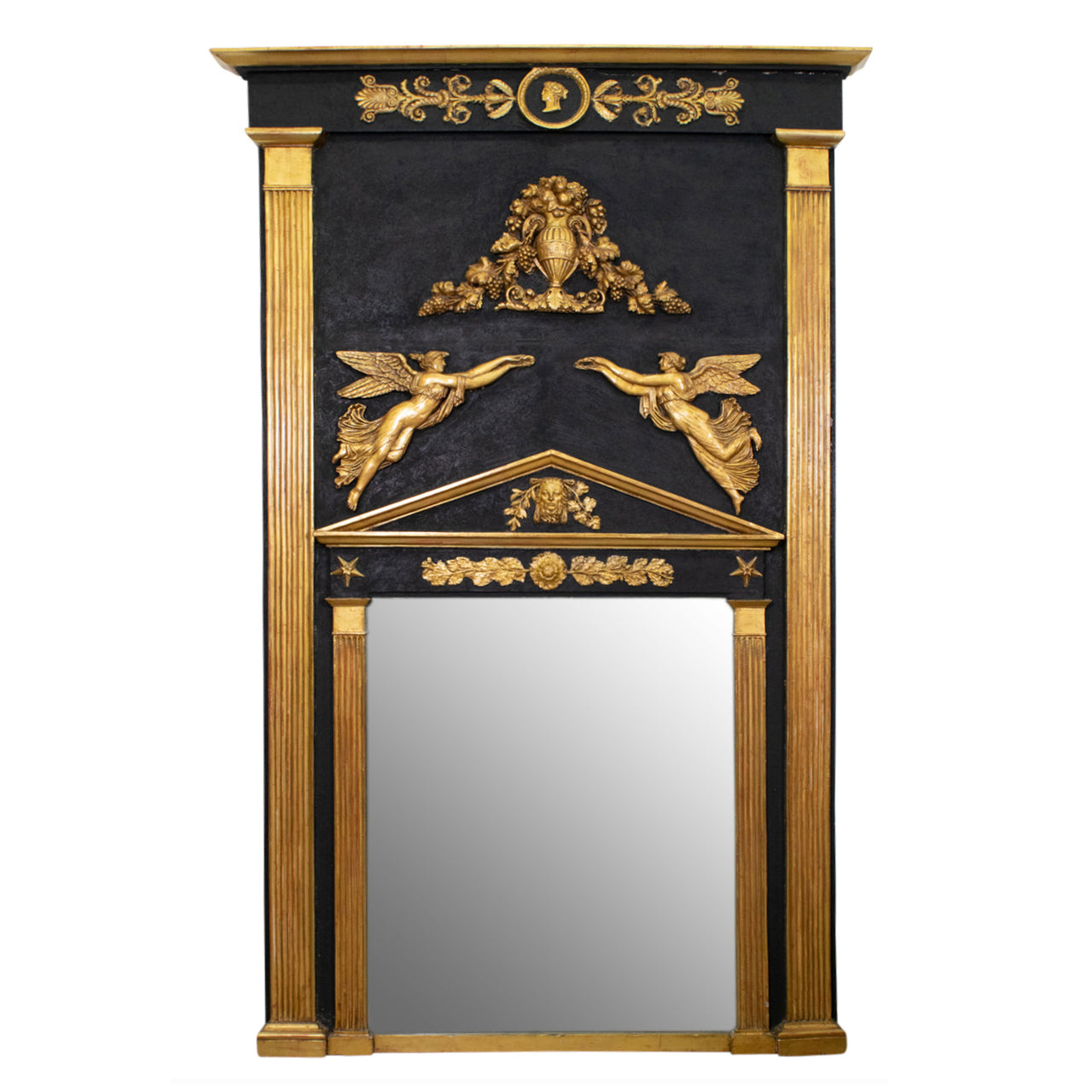 A French Empire Gilt and Ebonised Trumeau Mirror