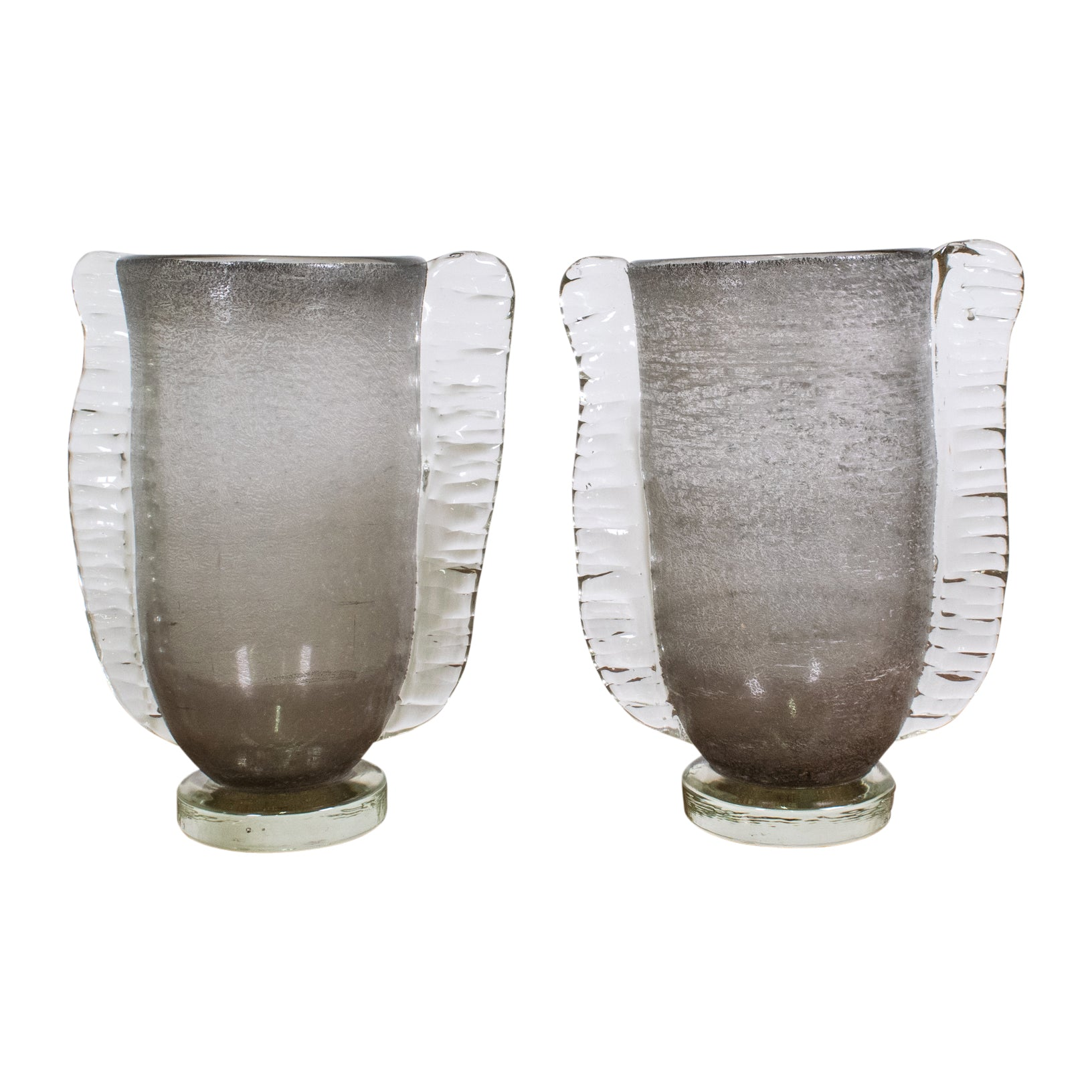 "A Pair of  ""Graffiato"" Murano Vase with applied Clear Handles"