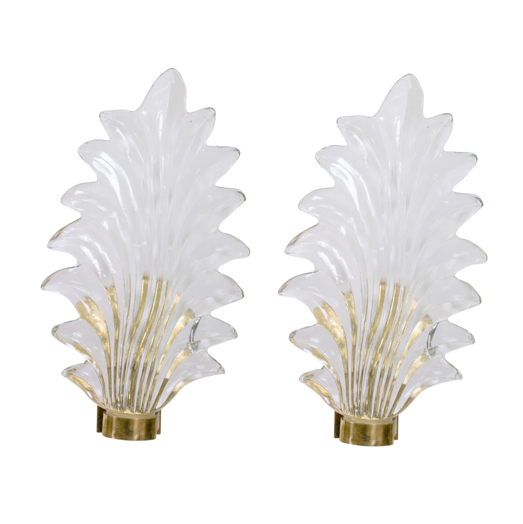 Pair of Large Murano Glass and Brass Leaf Sconces in the Style of Barovier Toso