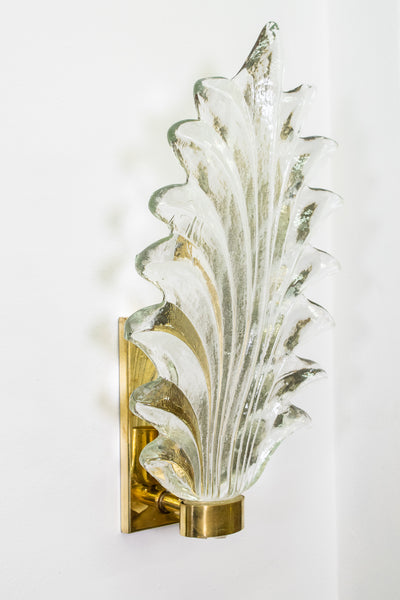 Pair of Large Murano Glass and Brass Leaf Sconces