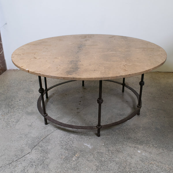 Mid Century circular Coffee Table with Marble Top