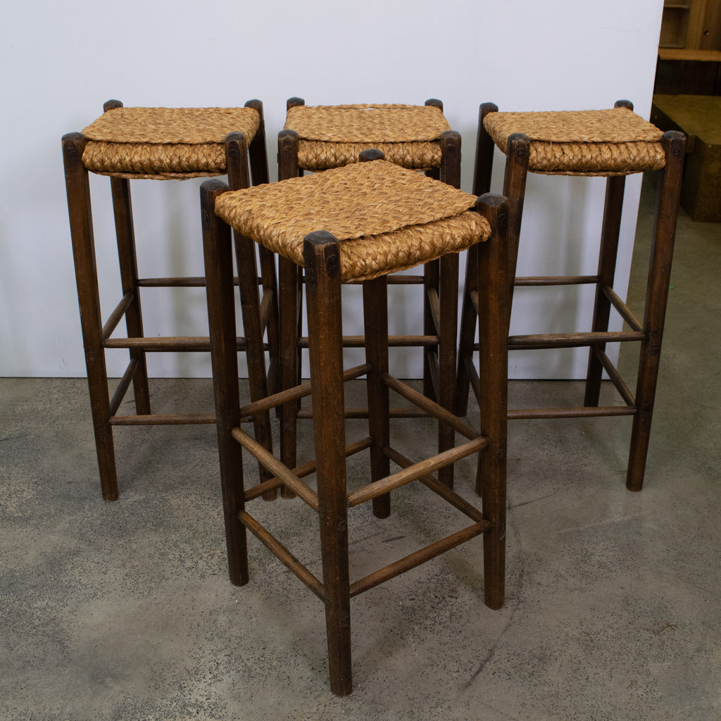 Awe Inspiring Set Of Four Audoux Minet Style Rope Bar Stools The Vault Gmtry Best Dining Table And Chair Ideas Images Gmtryco