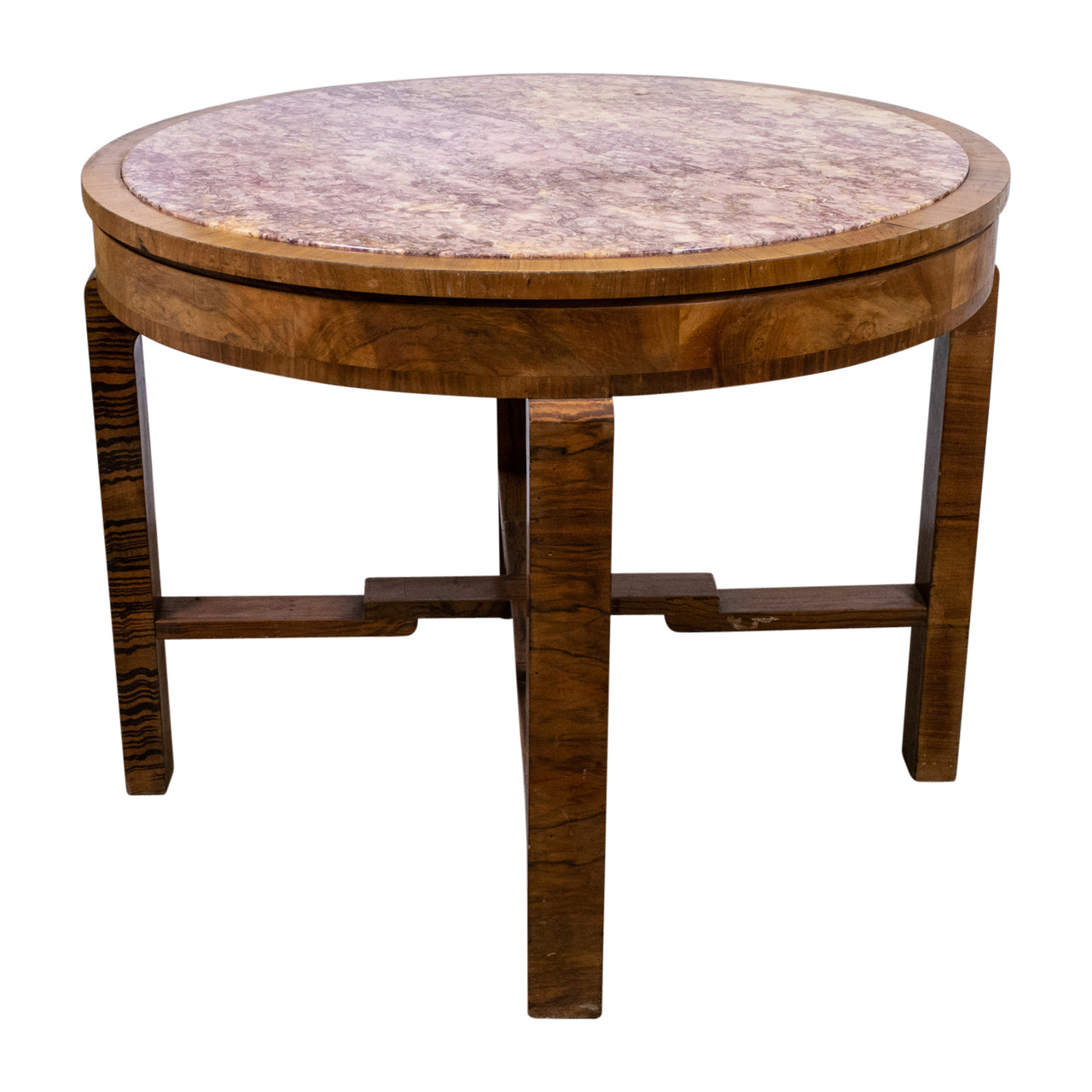 Art Deco Circular Table with Marble Top