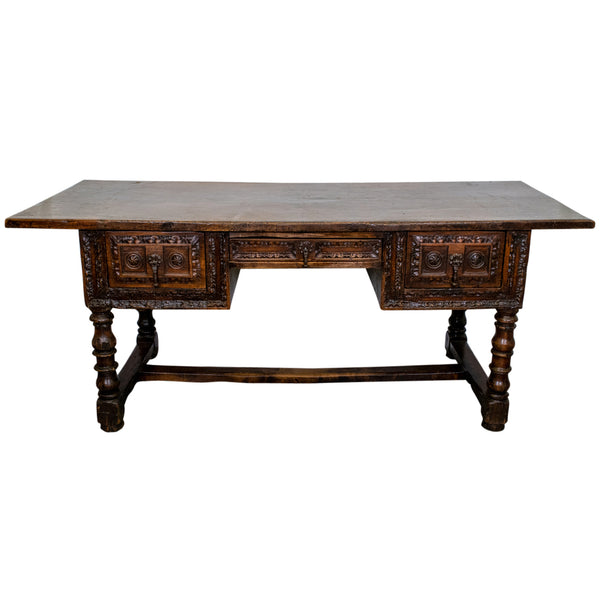 18th Century Spanish Chestnut Kneehole Desk