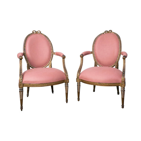 A Pair of 18th Century Louis XVI Giltwood Fauteuils