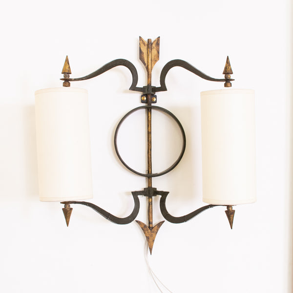 Pair of Bronze Wall Lights attributed to Jacques Tournus