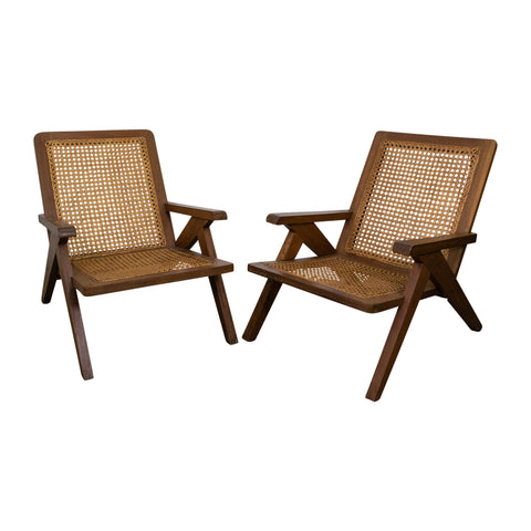 Pair of Teak and Cane Chairs in the manner of Pierre Jeanneret