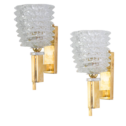 "Pair of Murano and Brass ""Rostrato"" Wall Sconces"