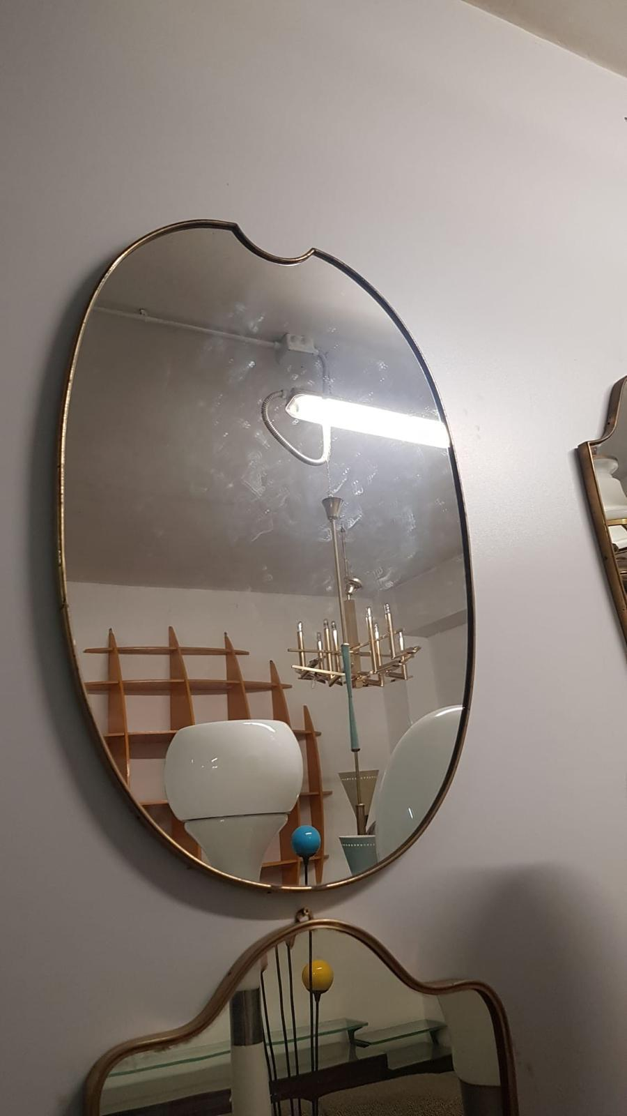 Unusual Italian Mid Century Brass Mirror