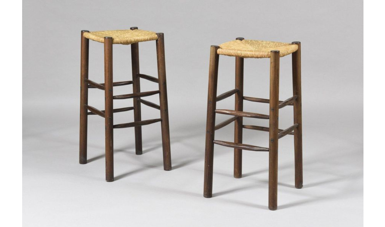 Pair of Mid Century Style Stools in the taste of Charlotte Perriand