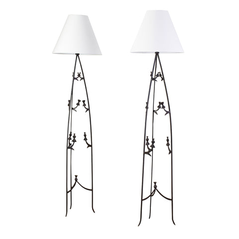 Pair of tripod floor lamps in hammered Wrought Iron