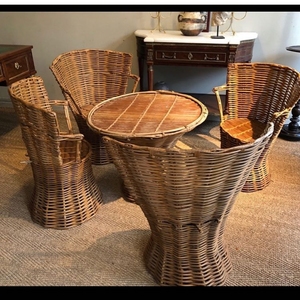 Mid 20th Century Cane Dining Setting