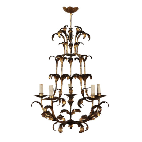 An Italian Gilt Wrought Iron Birdcage Chandelier