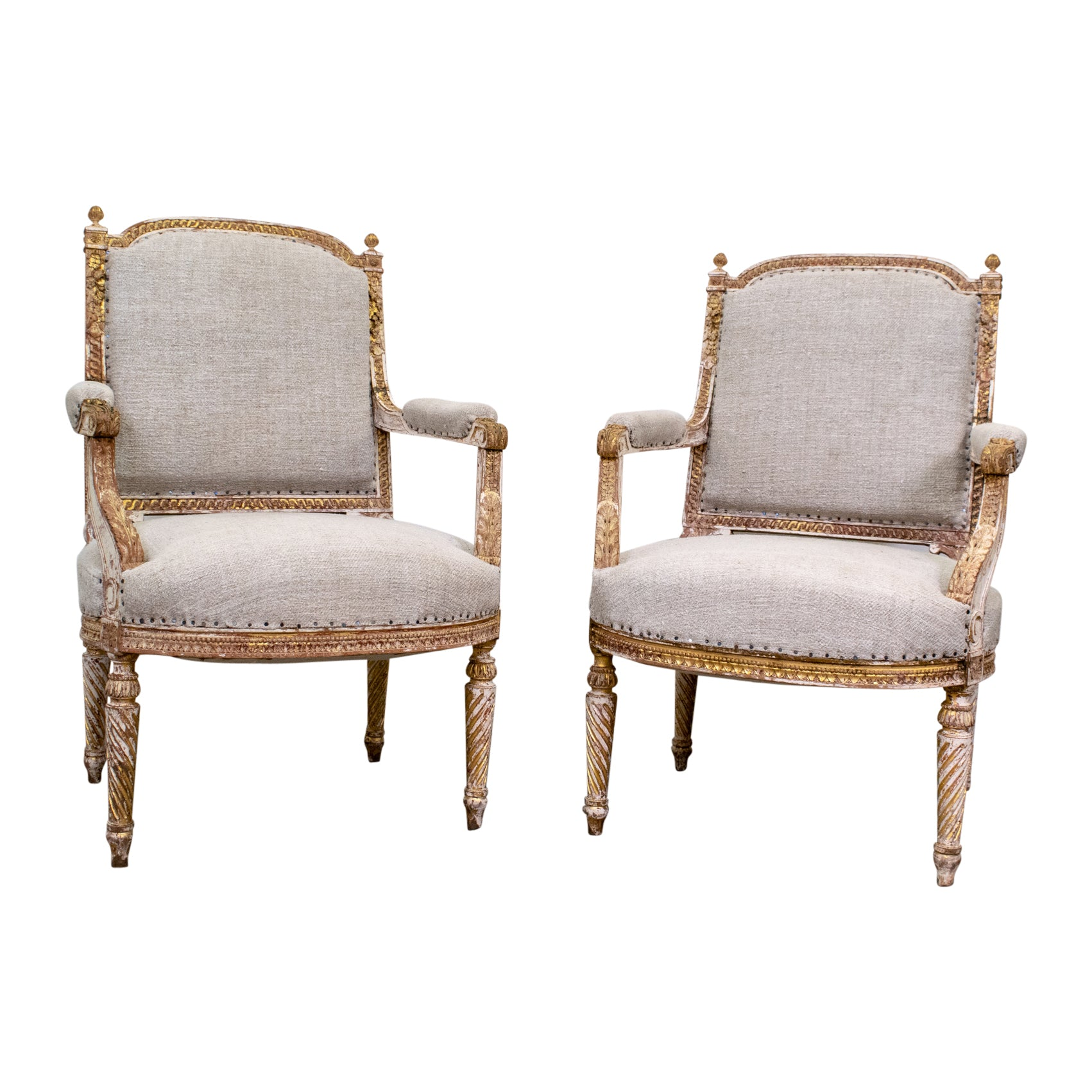 Pair of Louis XVI Style Gilt and white Armchair