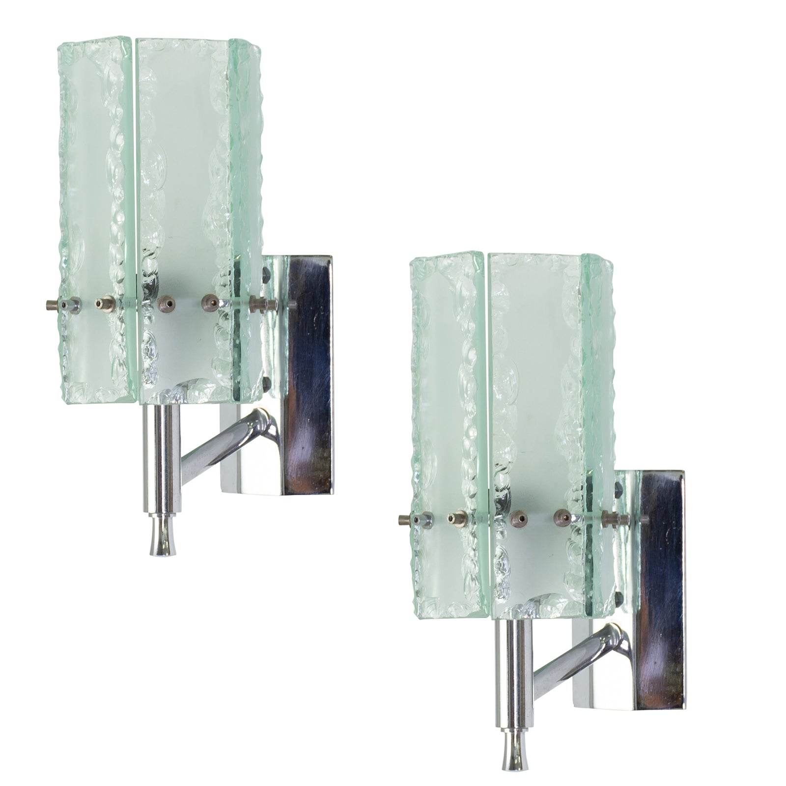 Pair of Italian Chrome and Glass Wall Sconces attributed to Fontarna Arte