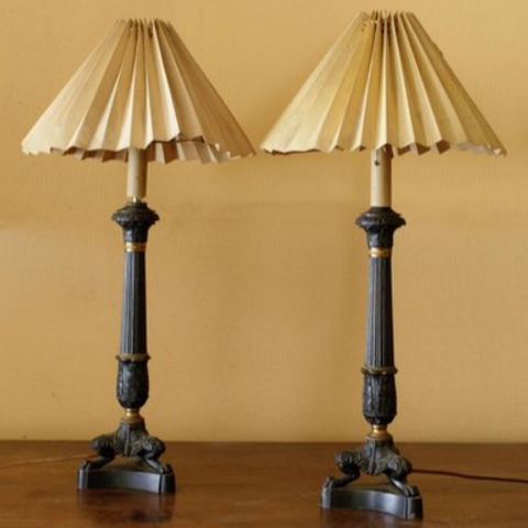 Pair French Neo-Classical Bronze Table Lamps