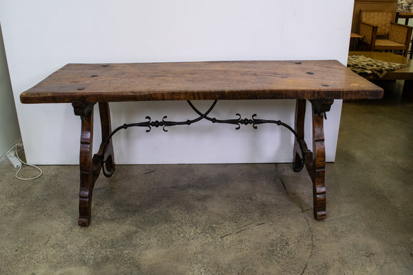 Spanish late 19th Century Oak Trestle Table