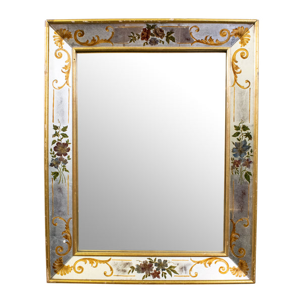 Small Verre-Eglomise Mirror with Gilt Border