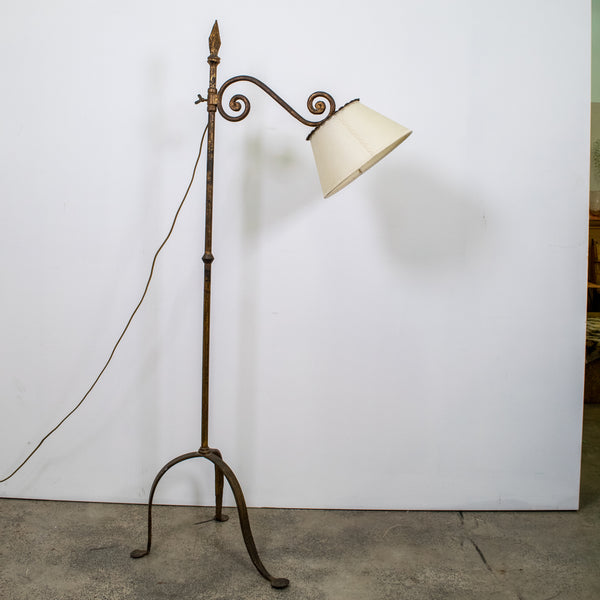French 1940s Gilt and and Hand wrought Iron Standing Lamp
