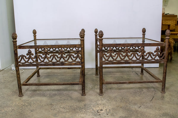 Pair of Wrought iron tables with glass Tops