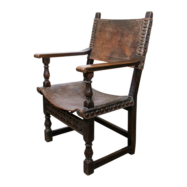 19th Century French Renaissance oak and leather Armchair