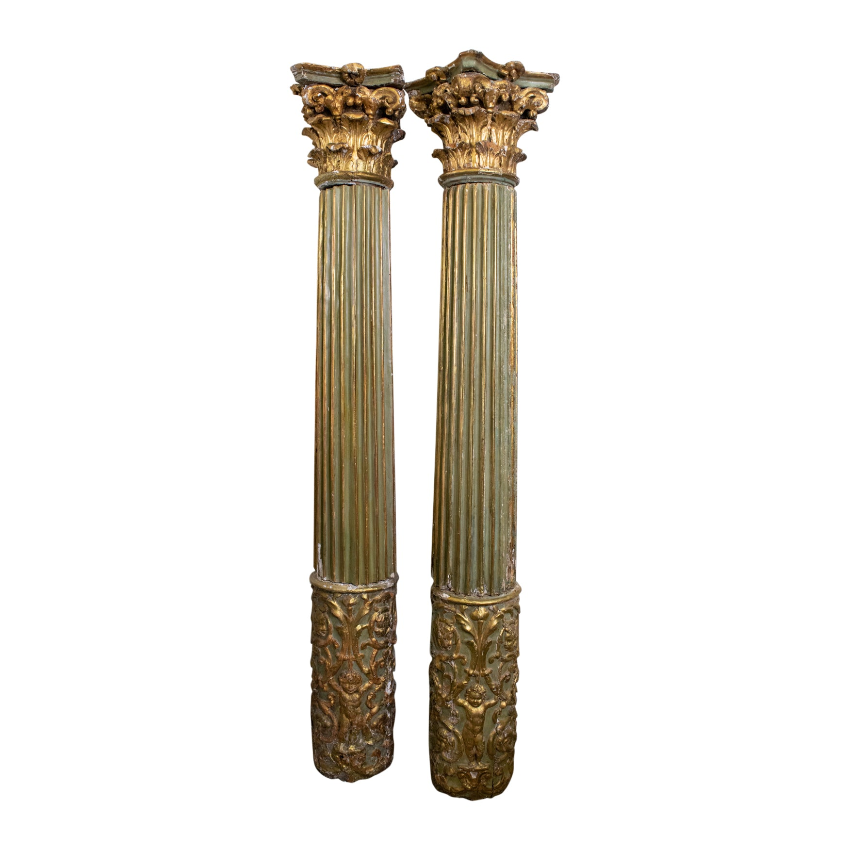 Pair of 19th Cenutry Green and Gilt Columns with corinthian top