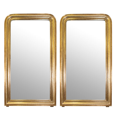 Pair of Louis Phillippe Style Giltwood Mirrors