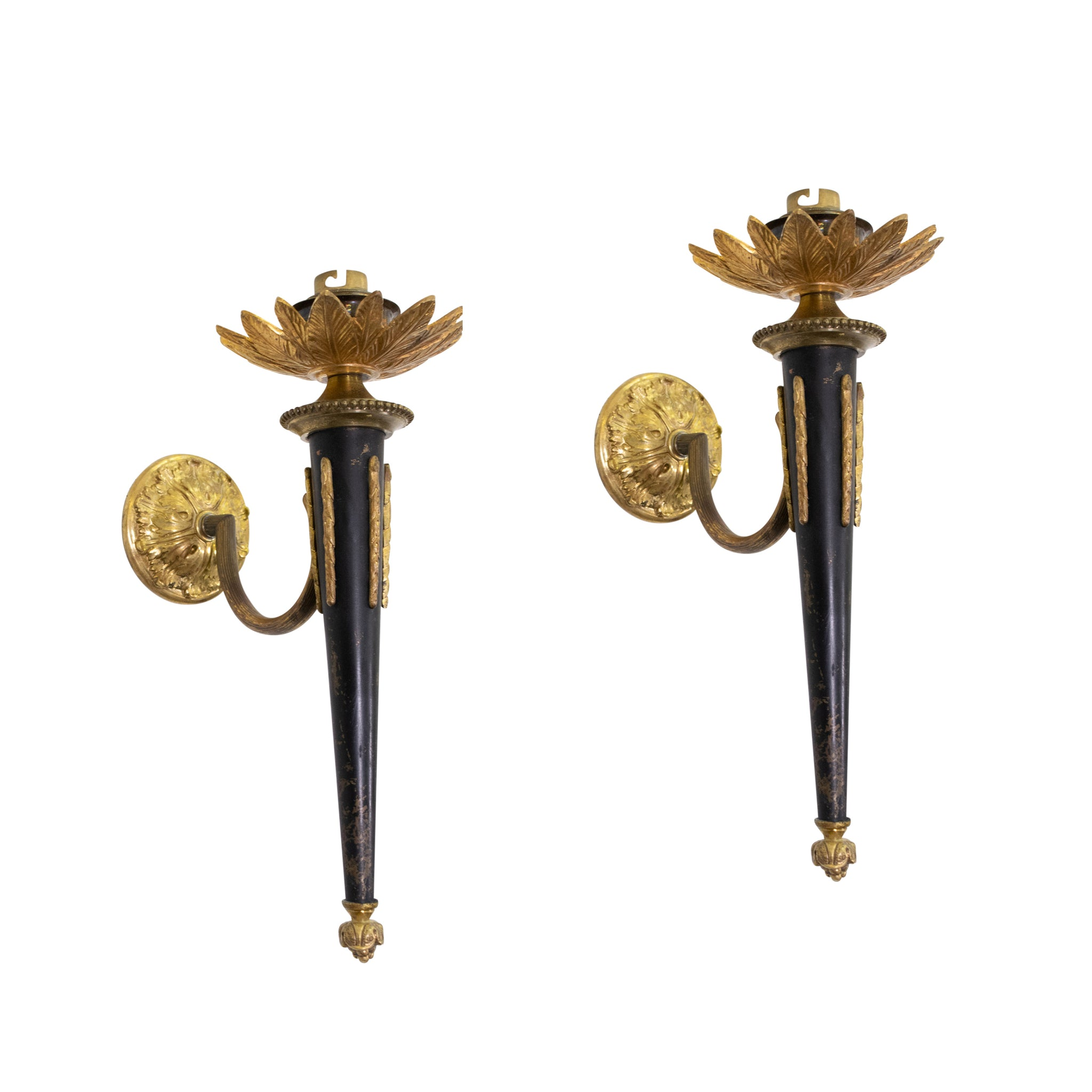 Pair of Empire Style Black and Brass Wall Sconces