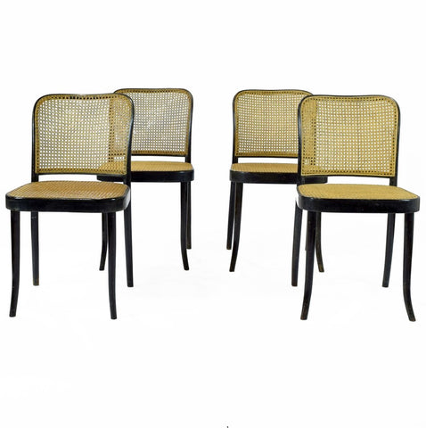 A set of 6 Mid-Century Ebonised Bentwood Chairs by Ligna