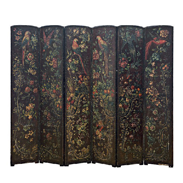 Antique late 18th century Six Panel Leather Screen