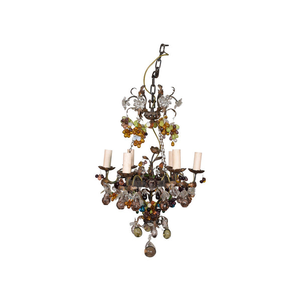 19th Century six light Bronze and Crystal Fruit Chandelier