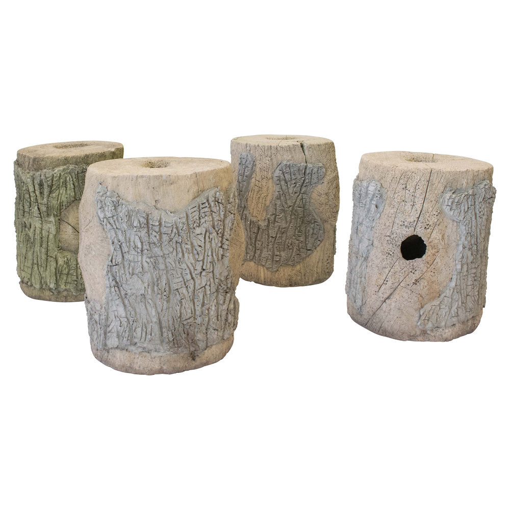 A Set of Four French Faux Bois Cement Stools