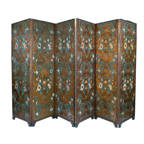 A 19th Century Embossed and Polychrome painted Leather Screen
