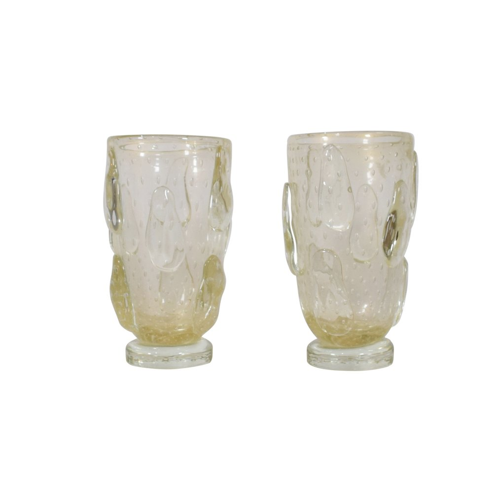 Pair of Bullicante Murano Glass Vases