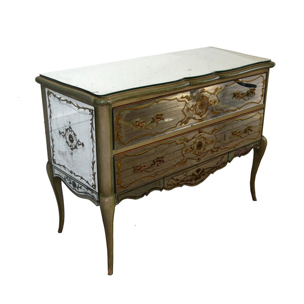 Vintage Louis XV style Commode veneered with verre eglomise panels