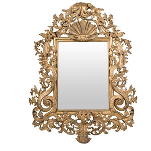 A Large Mid Century Italian Rococo Giltwood Mirror