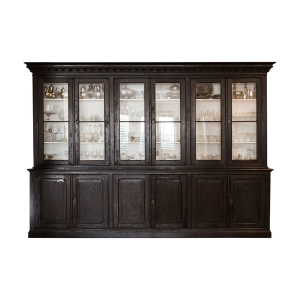 A Substantial Antique Ebonised French Provincial Bookcase