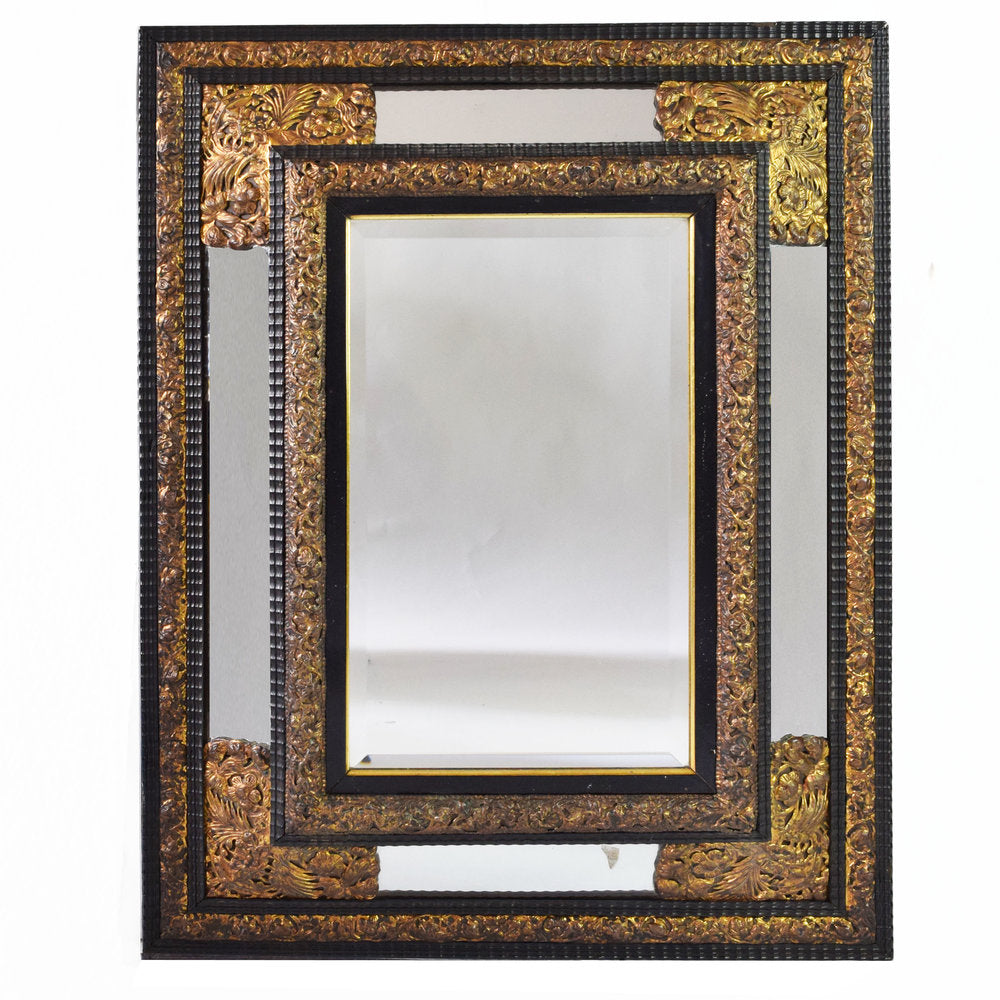 Antique Dutch Repousse and Ebony Cushion Mirror