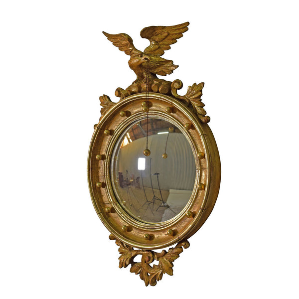 A Regency Style Giltwood Convex Mirror