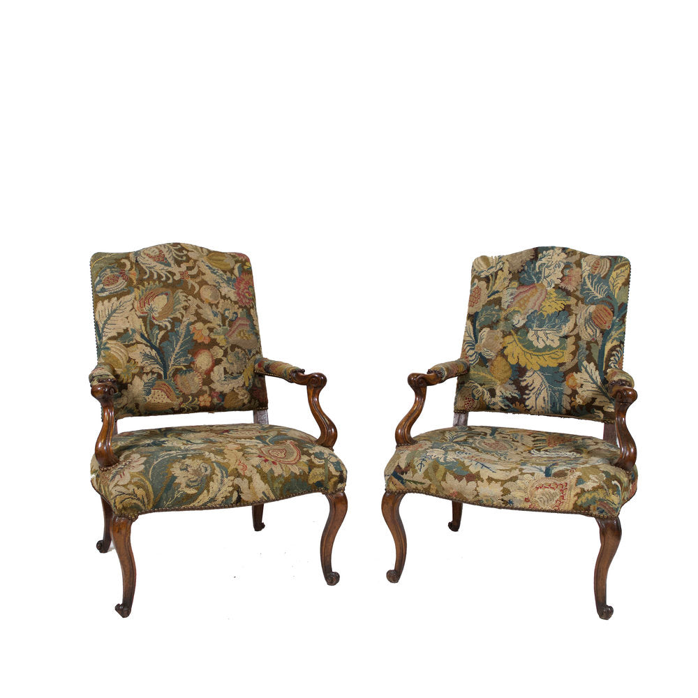 Pair of Louis XV Walnut Fauteuils with Period Gobeline Tapestry